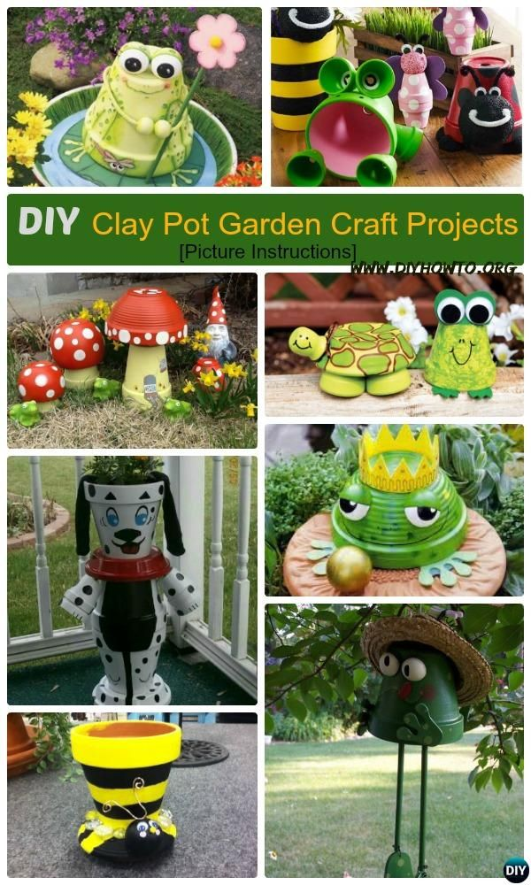 DIY Clay Pot Garden Craft Projects with Picture Instructions. Craft Own Whimsical Garden decorating by stacking and Painting with Clay Pots  via @diyhowto