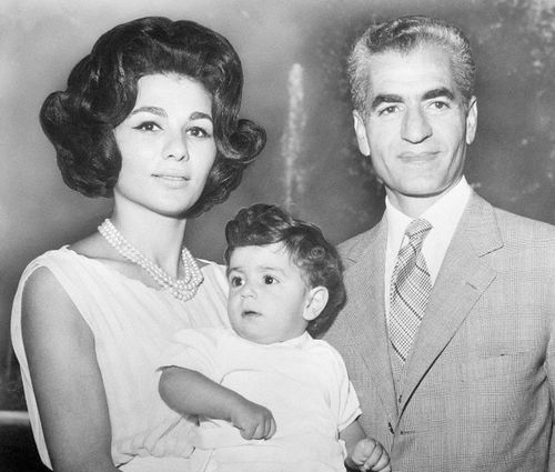 royalwatcher:  Empress Farah and Shah Mohammed Reza with Crown Prince Reza, early 1960s