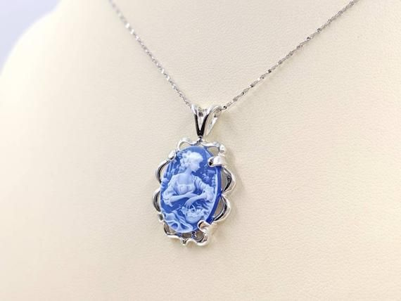 Blue Woman Stone Victorian Cameo Rope Chain and Sterling Fancy Setting; Sterling Infinity Clasp /& Close Genuine Agate Cameo Necklace
