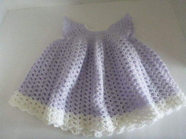crochet baby dress, newborn dress - ready to ship - handmade - shower gift, lilac dress, going home outfit, cute pretty dress by CarolsCreations77 on Etsy