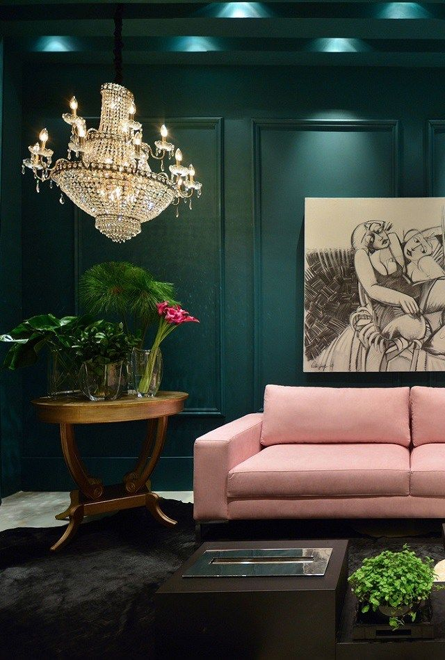 Dark Green Walls And Pale Pink Sofa