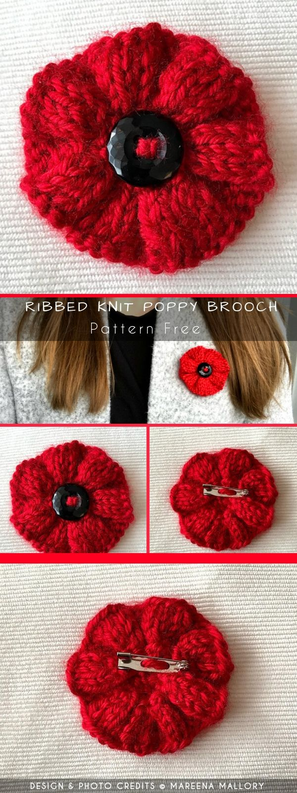 Ribbed Knit Poppy Brooch | Knitted poppies, Knitted flower ...