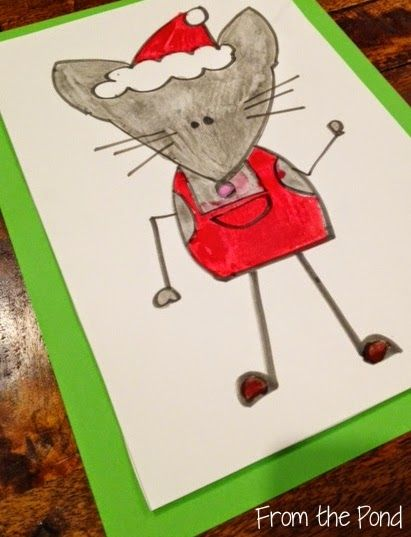 Christmas Mouse Directed Drawing