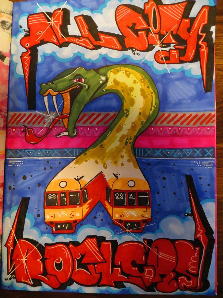 All city rockers. sketch, doodle, snake