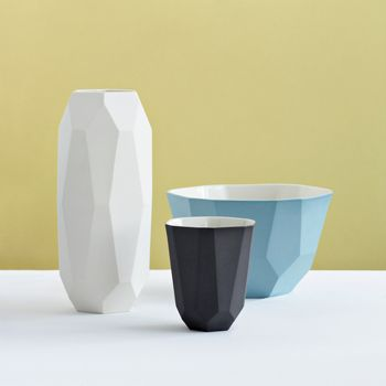 Anne J Vase   Designer: Anne Jørgensen (If I had seen this while I was in high school I could have designed a cup and bowl just like these and printed them off in our 3d printer... le sigh*