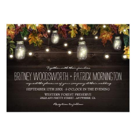 Rustic Fall Firefly Mason Jar Wedding Invitations #masonjar #rusticwedding #stringlights #weddinginvitation #outdoorwedding #countrywedding