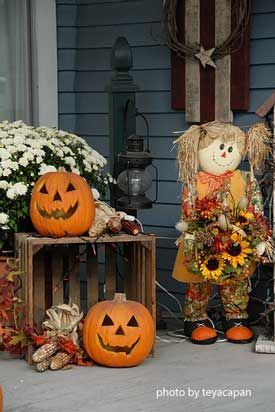 Autumn porch decor. Note: a good substitute for a bale of hay