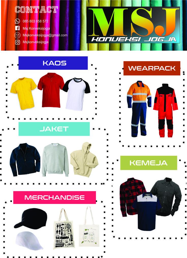 MSJ Konveksi Jogja - Melayani jasa pembuatan Kemeja/PDL, Kaos, Wearpack, Jaket, Goodie bag dan Topi