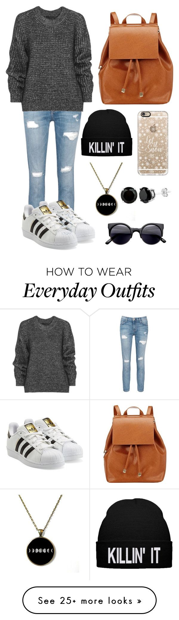 """Everyday outfit."" by annasoutfit on Polyvore featuring Current/Elliott, Belstaff, adidas Originals, Barneys New York and Casetify"