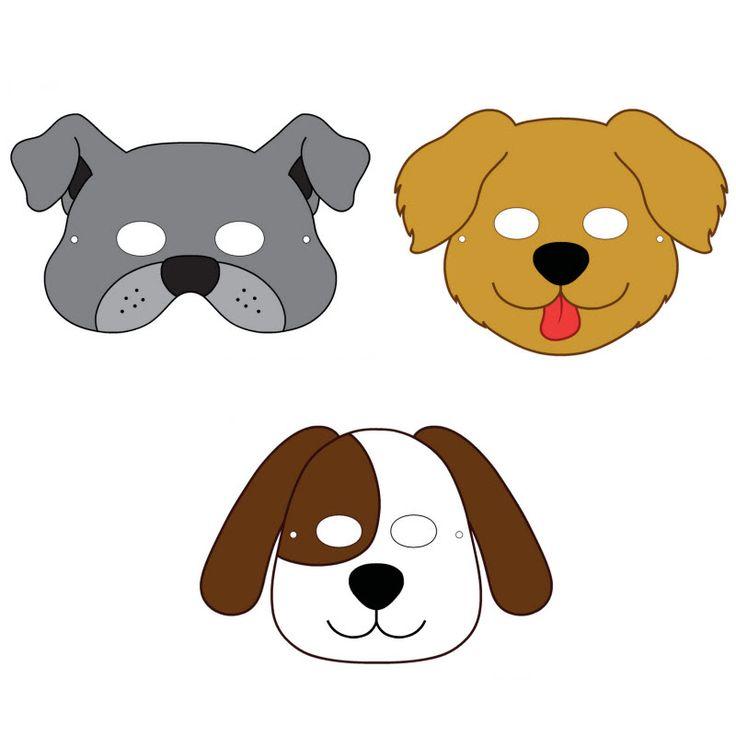 FREE DIY PDF printable print and cut mask dogs Roald Dahl, kipper, clifford, slinky malinki, hairy Mclary