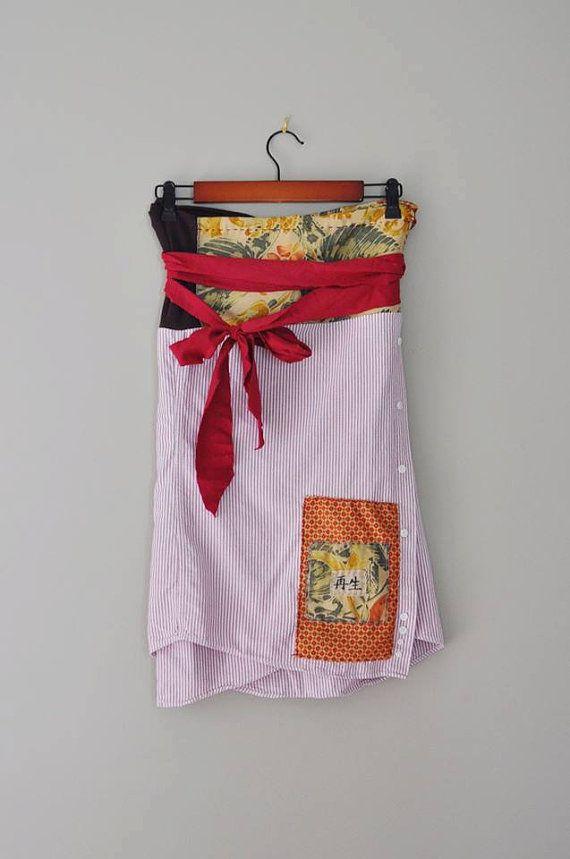 CUSTOM Obi Style Wrap Skirt made from Upcycled Textiles and Materials #customclothing #handmade #obi #kanji #wrapskirt