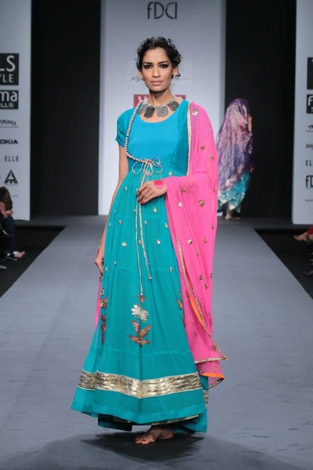 Anupamaa by Anupama Dayal at Wills Lifestyle India Fashion Week 2014 turquoise blue anarkali