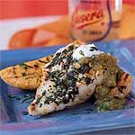 Grilled Grouper with Plantains and Salsa Verde Recipe | MyRecipes.com (307 calories)