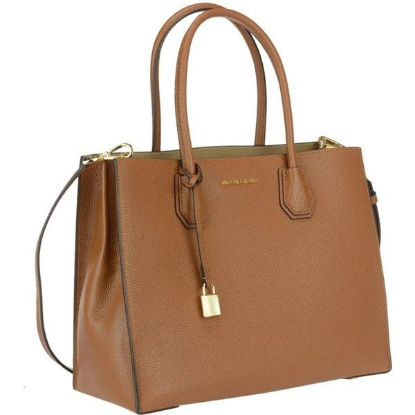 Large Mercer Bag (1.150 BRL) ❤ liked on Polyvore featuring bags, luggage, handle bag, michael kors, michael kors bags, brown handle bags and brown bag