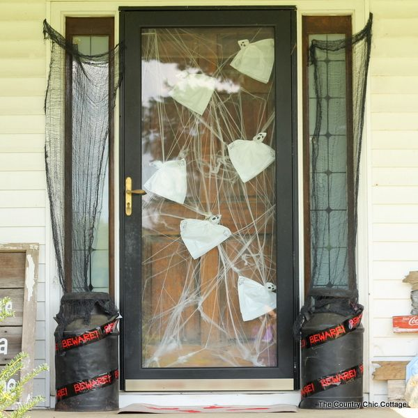 Add some outdoor Halloween decor to your home and scare the little ghosts that come your way. All the supplies for this one come from the dollar store!