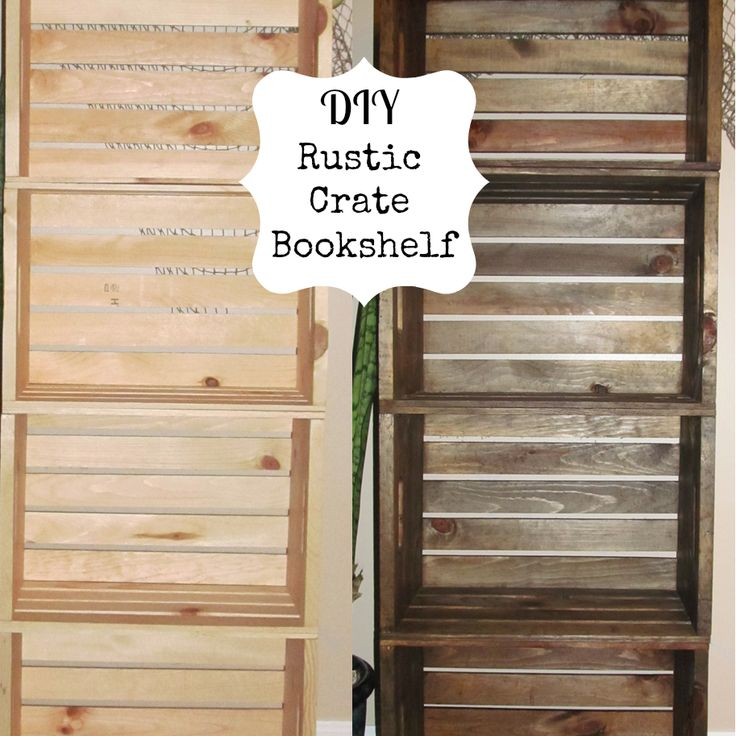 wood crate bookcase the comfy crafter diy crate. Black Bedroom Furniture Sets. Home Design Ideas