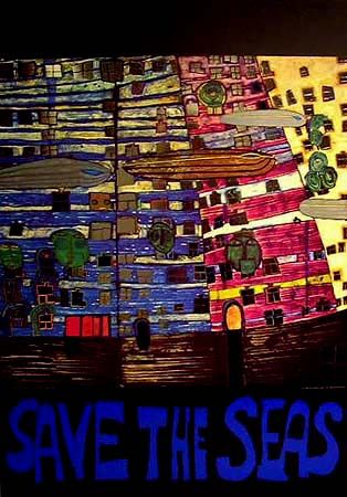 "Hundertwasser, ""Save the Seas"" original poster with foil"