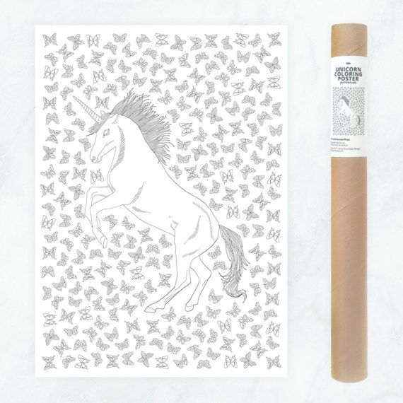unicorn coloring poster - adult coloring page - adult coloring book poster - DIY unicorn poster to color in - zentangle coloring for adults by AnnaGrundulsDesign