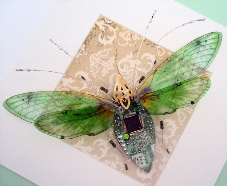 Our society discards a lot of electronics, as they are rendered obsolete almost every day, but artists like Julie Alice Chappell, based in the UK, are there to pick up the pieces and turn them into beautiful recycled art. In her case, she turns old computer circuit boards and electronics into beautiful winged insects in a series called Computer Component Bugs.