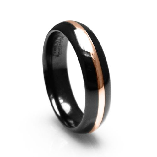 Ive Tagged A Product On Zales Edward Mirell Mens Black Titanium Dome Wedding Band With Gold Inlay