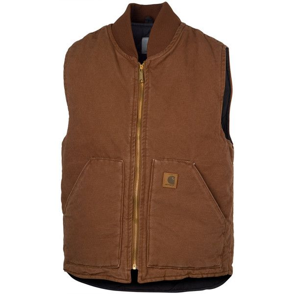 Carhartt Sandstone Vest ($67) ❤ liked on Polyvore featuring men's fashion, men's clothing, men's outerwear, men's vests, carhartt men's vest, mens vest, mens vest outerwear and mens summer vests