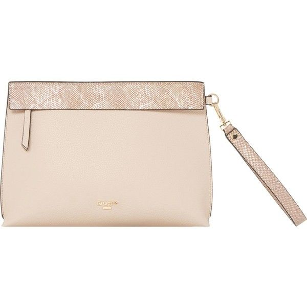 Dune Eharriet faux-leather clutch bag (360 DKK) ❤ liked on Polyvore featuring bags, handbags, clutches, nude clutches, faux leather purses, nude purses, pink clutches and zip wristlet