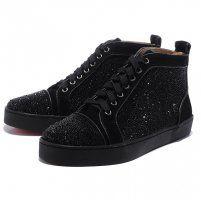 Christian Louboutin Men Glitter Nubuck High Top Sneakers Black, Shopping Cheap Louboutins Outlet Online Sale.