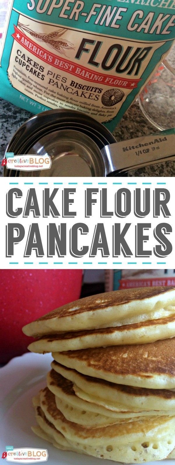 Fluffy Cake Flour Pancakes | Cake flour is the secret to fluffy pancakes! See the recipe on TodaysCreativeLife.com