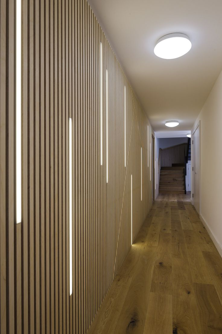 Indoor decorative led ceiling lights wall lamps china led ceiling - Led Lighting Dissecting A Wall Of Plywood Strips In Corridor At Wilberforce Road