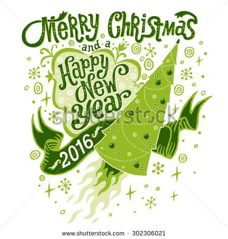 Merry Christmas and Happy New Year 2016 Greeting card, isolated vector illustration, poster, postcard or background