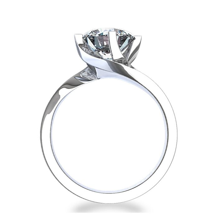 diamond engagement rings | Elegant Twist 3/4 ctw Diamond Engagement Ring in 14k White Gold