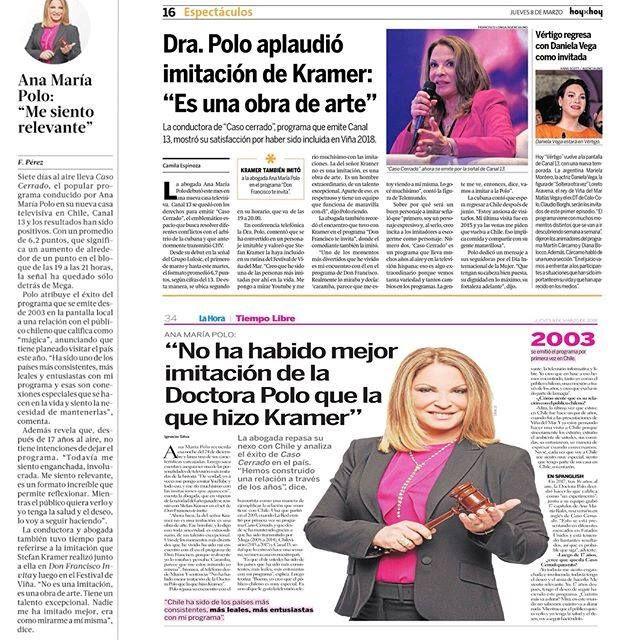 """Agradecida con el público de Chile y con los medios de comunicación por la lealtad y el cariño que siemprehan tenido conmigo y con """"Caso Cerrado"""". #Las Ultimas Noticias #La Tercera #La Hora #Hoy por Hoy #Diario la Estrella #Canal 13"""