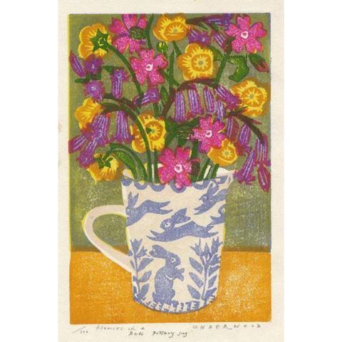 'Flowers in a Bell Pottery Jug' by Matthew Underwood (woodblock print)