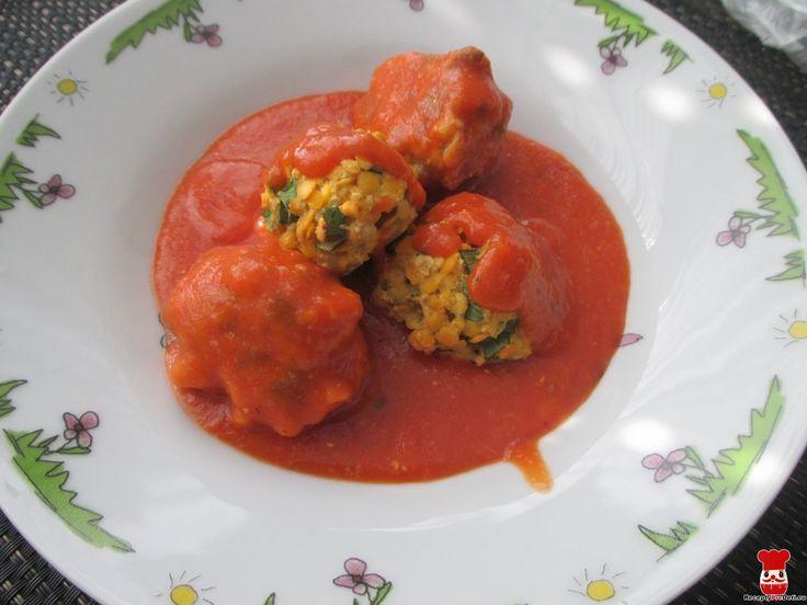 Šošovicovo-špenátové guľky v paradajkovej omáčke - Jedlá a recepty pre deti - Receptypredeti.eu