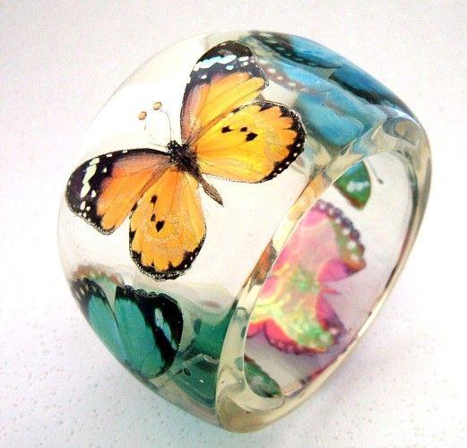 Clear Resin Jewelry Butterflies Bangle Bracelet - Night Sky Jewelry