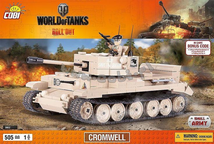 Cromwell - brytyjski czołg pościgowy, pierwszy z uniwersalnym działem, dobre opancerzenie i duża mobilność to jego najlepsze cechy. W grze World of Tanks to jeden z najciekawszych pojazdów szóstego poziomu. Figurka żołnierza, którą znajdziesz w zestawie wyposażona jest w lornetkę i brytyjski pistolet maszynowy z 1941 roku.
