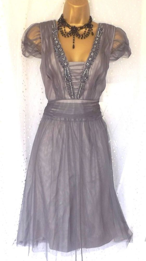 MONSOON *LYNSEY* Dove Grey Bead Gatsby Downton Deco 20 s Occasion Dress UK 12