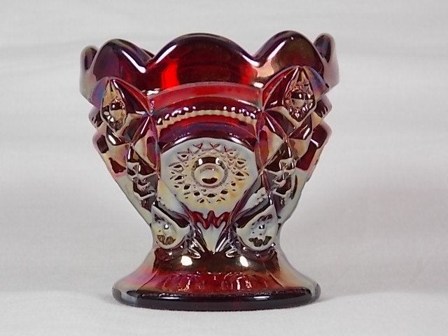 Scarce Circa 1960's Imperial Glass #402 Fashion Contemporary Toothpick Holder Egg Cup Ruby Red Carnival Glass Star Arch IG Hallmark Logo - K by DianesBargainShack on Etsy