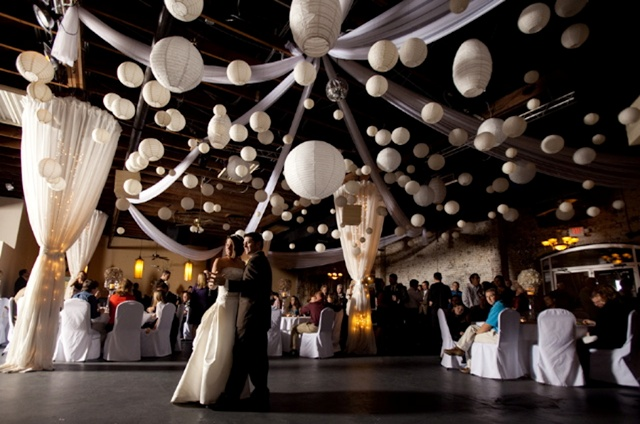 Wedding pomander flower kissing balls or lantern decorations. Black and white wedding decorations.