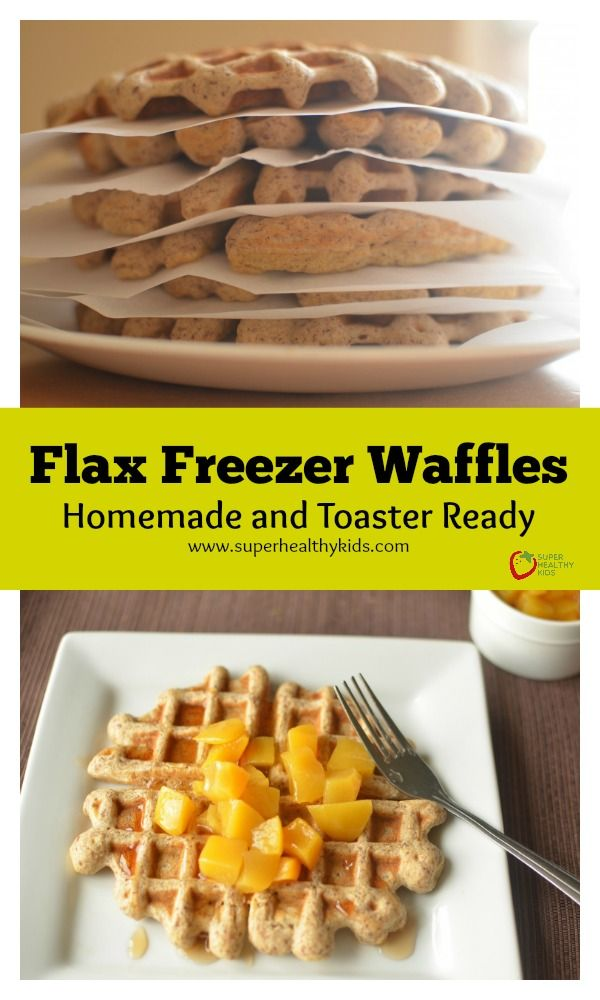 Flax Freezer Waffles- Homemade and Toaster Ready -  Let go of Eggo Waffles and other frozen breakfasts!  http://www.superhealthykids.com/flax-freezer-waffles-homemade-and-toaster-ready/