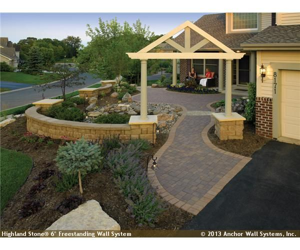 Front Yard Courtyard Featuring Highland Stone Wall System Farm House In 2018 Pinterest Patio And Landscaping