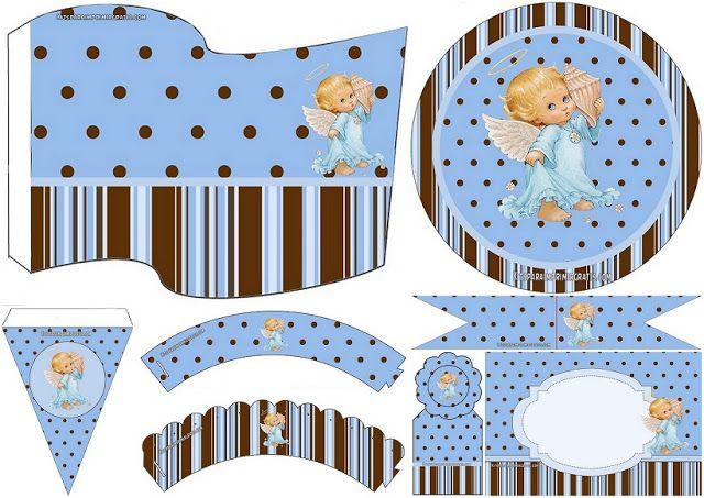 Angelito Precious Moments: Mini Kit para Bautizo de Niño para Imprimir Gratis.