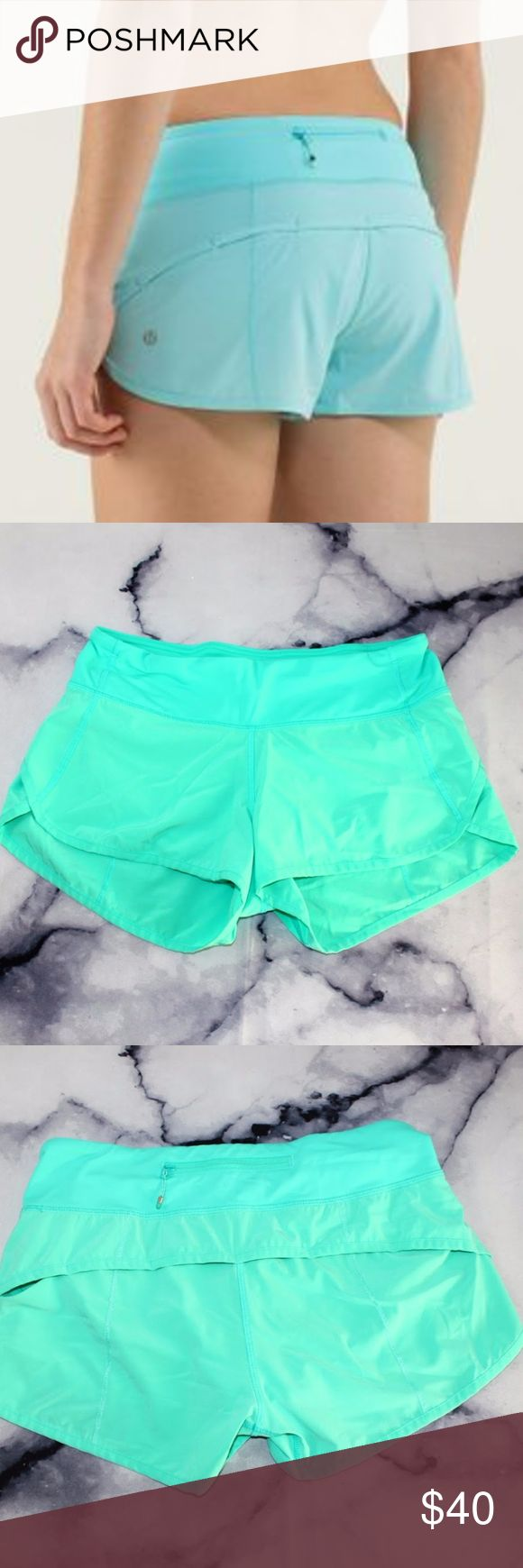 Lululemon Speed Short Sea Mist Tiffany Blue Teal 4 CONDITION: USED STRETCH: 4 way stretch, but it is still a true 4. FLAWS: none. No piling in crotch as shown. Feel free to send me an offer! You can also bundle your likes and I'll send you an offer with a bangin' discount! lululemon athletica Shorts