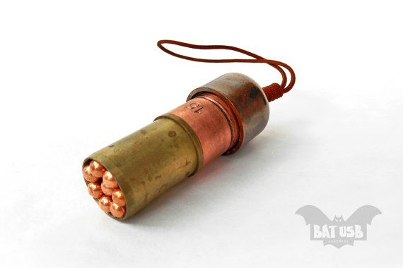 BAT™ 32GB USB flash drive - Memory Stick Bullet - Artificially aged - Copper usb - Magnetic cap - Handmade jewelry usb for women and men Product Dimensions 5.2cm Height x 2cm Diameter by BatLab on Etsy