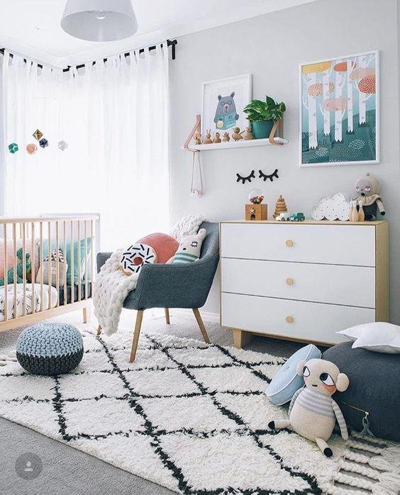 Copy the color palette of this nursery found on Petit & Small by adding peach and green accents to a neutral mix of gray and white. For more gender neutral nurseries, click here.