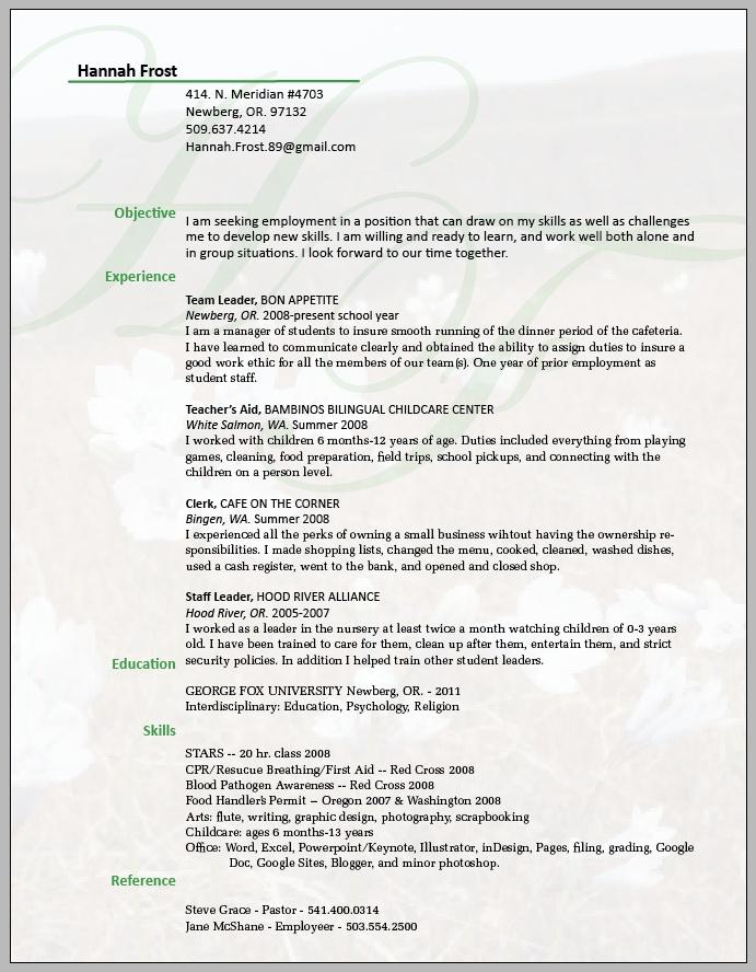 resume, nice understated background