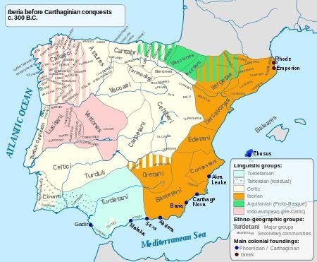 Pre-Roman peoples of the Iberian Peninsula - Main language areas in Iberia circa 300 BC