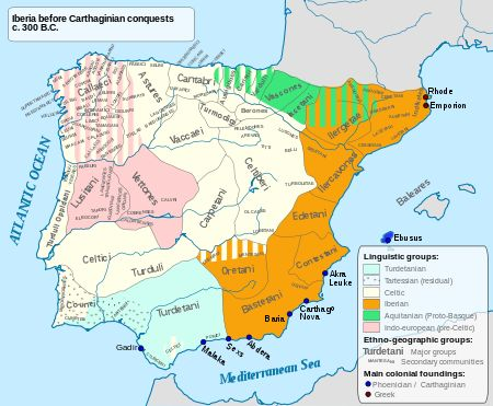 Pre-Roman peoples of the Iberian Peninsula - Main language areas in Iberia circa 300 BC
