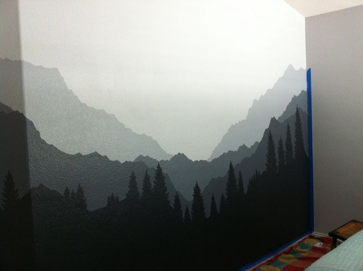 Mural 2 moody mountains for maren wall murals for Diy mountain mural