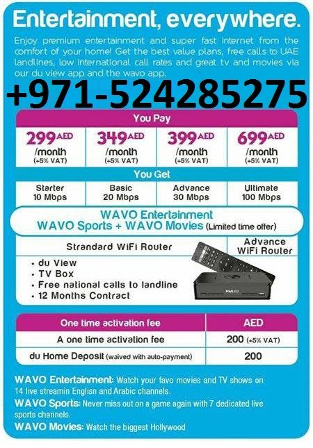 Du Home Internet With Free Tv Channels. Call Or Whatsapp 052-4285275  #Du_Wifi_Home_internet_Available_In_All_Etisalat_Buildings... ☆ Free Router ☆ Free TV Channels ☆ Free #WAVO Entertainment ☆ Free 5GB Data Sim with Mifi Router ☆ Free Landline Connection ☆ Unlimited Downloading ☆ No Advance Payment ☆ No Line Rent. Call Or WhatsApp For More Inquirey: 052-4285275
